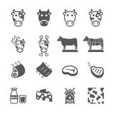 Cow icon set stock illustration