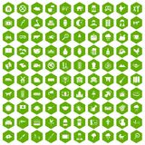 100 cow icons hexagon green. 100 cow icons set in green hexagon isolated vector illustration Stock Photos
