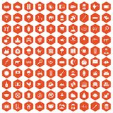 100 cow icons hexagon orange. 100 cow icons set in orange hexagon isolated vector illustration Royalty Free Stock Photography