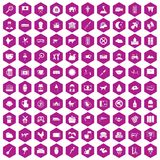 100 cow icons hexagon violet. 100 cow icons set in violet hexagon isolated vector illustration royalty free illustration