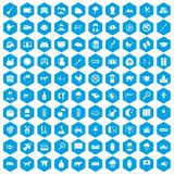 100 cow icons set blue. 100 cow icons set in blue hexagon isolated vector illustration Royalty Free Illustration