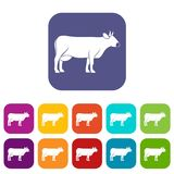 Cow icons set flat Royalty Free Stock Photography
