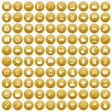 100 cow icons set gold. 100 cow icons set in gold circle isolated on white vectr illustration Royalty Free Stock Photo