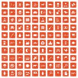 100 cow icons set grunge orange. 100 cow icons set in grunge style orange color isolated on white background vector illustration Vector Illustration