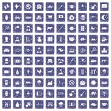 100 cow icons set grunge sapphire Royalty Free Stock Image