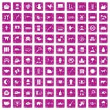 100 cow icons set grunge pink. 100 cow icons set in grunge style pink color isolated on white background vector illustration Royalty Free Stock Photos