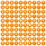 100 cow icons set orange. 100 cow icons set in orange circle isolated vector illustration Stock Illustration