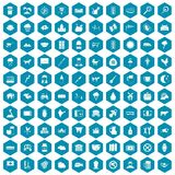 100 cow icons sapphirine violet. 100 cow icons set in sapphirine hexagon isolated vector illustration vector illustration