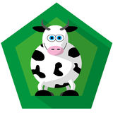 Cow illustration on green background. Cow illustration on green badge background with long shadow Royalty Free Stock Image