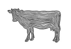 A cow illustration icon in black offset line. Fingerprint style. For logo or background design Royalty Free Stock Photography