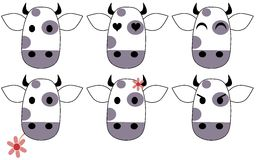 Nice Cow cartoon with differente expressions Royalty Free Stock Photos