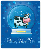 Cow inside of the snow-dome. Cute friendly cow inside of the snow-dome. 2009 is the Year of the Ox according to the Chinese Zodiac. To see similar, please VISIT stock illustration