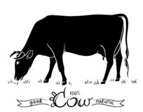 Cow isolated. Black and white silhouettes of a cow royalty free illustration