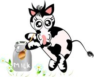 Cow with jug of milk Royalty Free Stock Photography