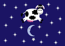 Cow Jumped Over The Moon Vector Illustration Royalty Free Stock Images