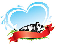 Cow label. Cow with red banner for your text Royalty Free Stock Photography