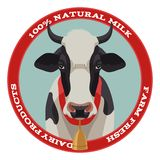 Cow label, red style Royalty Free Stock Images
