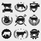 Cow labels and elements set. Vector. Silhouette, seal, premium stock illustration