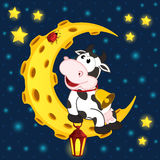 Cow and ladybug on moon Stock Photo