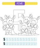 Five. Learning number 5. Coloring printable worksheet for kindergarten and preschool. Elk. royalty free illustration