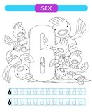 Six. Learning number 6. Coloring printable worksheet for kindergarten and preschool. Fish. vector illustration
