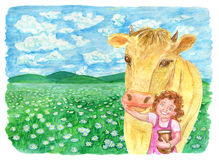 Cow with little girl in the field and copy space. Vintage rural background with summer landscape, watercolor illustration with design graphic elements Stock Photo