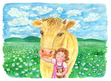 Cow with little girl holding jar of milk on the field. Vintage rural background with summer landscape, watercolor illustration with design graphic elements Royalty Free Stock Photography