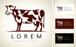 Cow logo. Vector with business card template Royalty Free Stock Photos