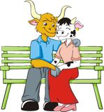 Cow Lovers. A colorful illustration of a boy and girl cows who are holding hands, sitting on a bench, showing that they are in loved with each other stock illustration