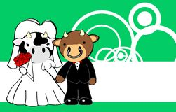 Cow married cartoon background Royalty Free Stock Photography