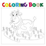 A cow in a meadow with flowers. Coloring book royalty free illustration