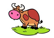 Cow meadow wonder animal character cartoon. Illustration stock illustration