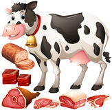 Cow and meat products Royalty Free Stock Images