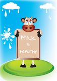 Cow messenger. Cow sharing a healthy message to consumers stock illustration