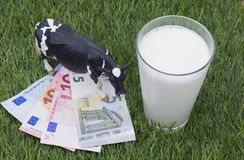 Cow, mild, money and gras. Image shows some banknotes on gras with mild and a cow stock image