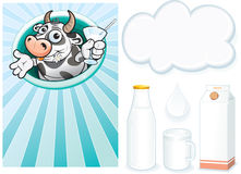 Cow and milk Royalty Free Stock Photography