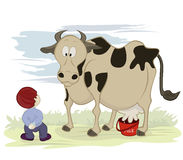 Cow and milk. Humour cartoon illustration of a boy with his milk bottle waiting for the cow to provide milk for him Royalty Free Stock Photo