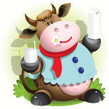 Cow and milk. Illustration, merry of a cartoon cow with flower stock illustration