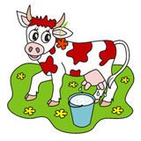 Cow and milk. Cute cow with flower on her ear and a bucket of milk on a glade Stock Images