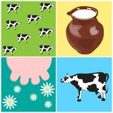 Cow_and_Milk Stock Photos