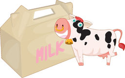 Cow and milk bag Royalty Free Stock Images