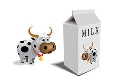Cow and milk box Stock Photos