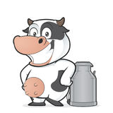 Cow with milk can. Clipart picture of a cow cartoon character with milk can stock illustration