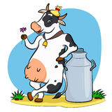 Cow with milk can Royalty Free Stock Photography