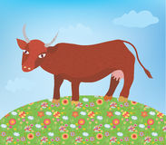 Cow with milk cartoon Royalty Free Stock Photos