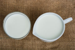 Cow milk and ceramic jug Royalty Free Stock Images