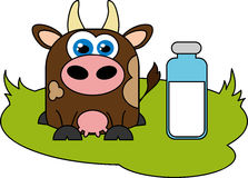 Cow and milk. Royalty Free Stock Images