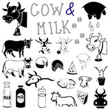 Cow and milk drawings and icons Royalty Free Stock Photography
