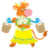 Cow with milk and flowers. Vector clip-art of a friendly smiling red cow that carrying a bunch of chamomiles and buckets of milk on a yoke Stock Photos