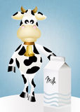 Cow and milk Royalty Free Stock Images